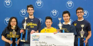 The Collegiate Bridge Bowl champions from the University of California at Berkeley: Stella Wan, Kevin Rosenberg, Jess Chao, Foster Tom and Armin Askari