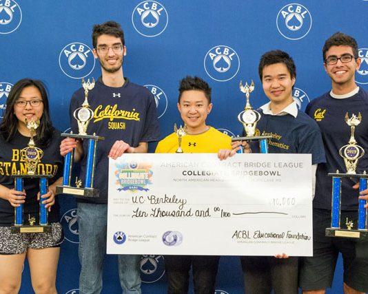 The Collegiate Bridge Bowl champions from the University of California at Berkeley: Stella Wan, Kevin Rosenberg, Jess Chao, Foster Tom and Armin Askari
