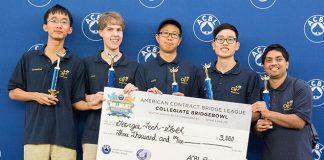 Third place in the Collegiate Bridge Bowl went to the Georgia Tech Gold Team: Shengding Sun, Cyrus Hettle, Zhuangdi Xu, Richard Jeng and Santhosh Karnik