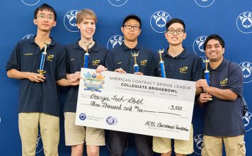 Third place in the Collegiate Bridge Bowl went to the Georgia Tech Gold Team: Shengding Sun, Cyrus Hettle, Zhuangdi Xu, Richard Jeng and Santhosh Karnik