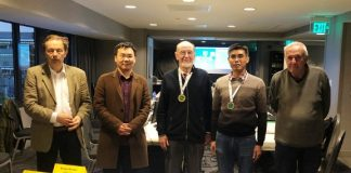 Hans Leber (Q-Plus Bridge), Yu Peng (Synrey Bridge), Gérard Joyez, accepting the gold medal for Micro Bridge, Zhihui Shi (Synrey Bridge) and Yves Costel (Wbridge5).